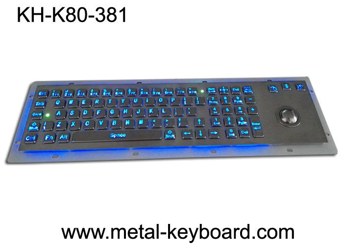 Rugged Backlit Metal Keyboard with Ergonomics Design Trackbal , USB interface