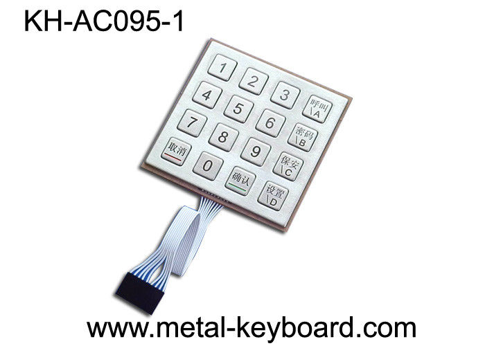 Anti - Vandal Stainless Steel Keyboard , Outdoor Access Entry keypad with 16 keys