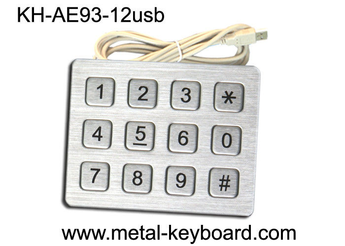 Ruggedized Kiosk Numeric 4 x 3 Metal Keypad Stainless Steel with 12 Keys
