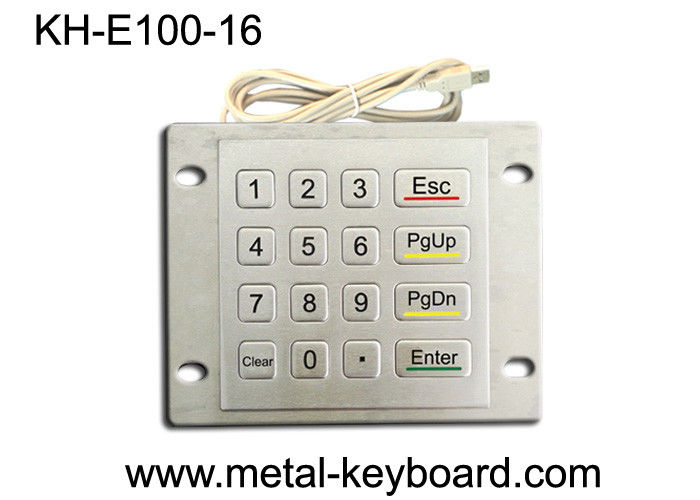 Weatherproof Metal Keypad with Top Panel Mounting , 16 button Checking device keypad